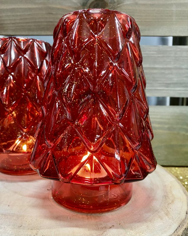Christmas Tree Candle Holder Red 8490R (2)