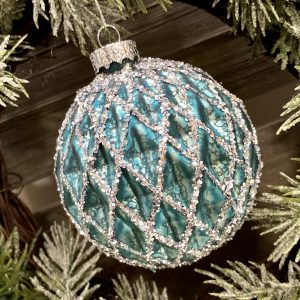 Teal Hand blown Glass Bauble 8cm