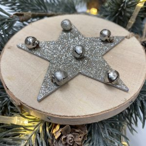 Wooden Hanging Star Decoration Silver 5100