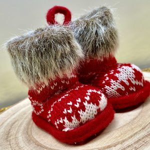 Fairisle Knitted Boots Hanging Decoration CB5406